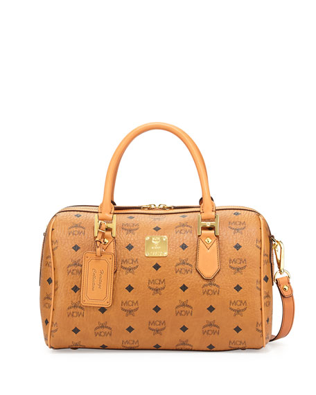 MCM Heritage Boston Satchel Bag, Cognac
