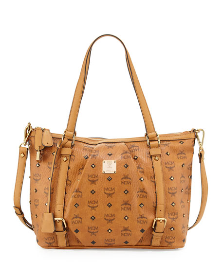 MCM Gold Visetos Top-Zip Shopper Bag, Cognac