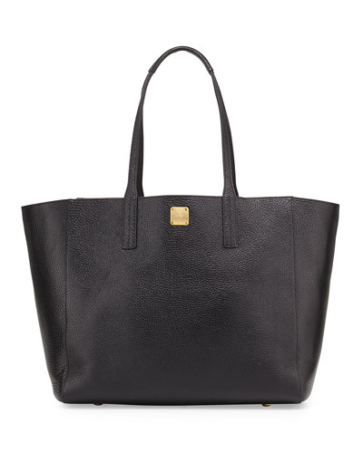 Shopper Project Reversible Leather Tote Bag, Black/Gold