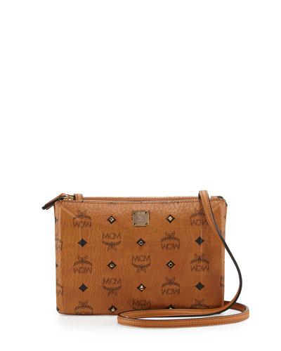 Gold Visetos Crossbody Bag, Cognac