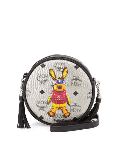 Rabbit Tambourine Round Crossbody Bag, Silver