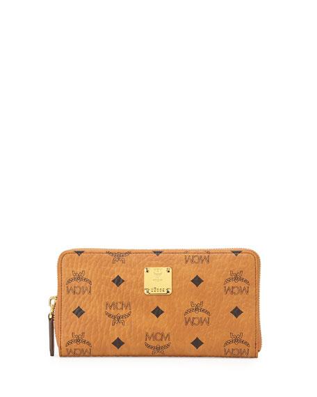 MCM Heritage Line Large Zip Wallet, Cognac