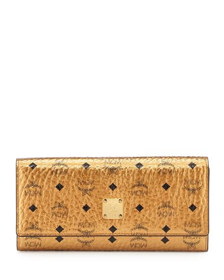 Color Visetos Large Tri-Fold Wallet, Gold