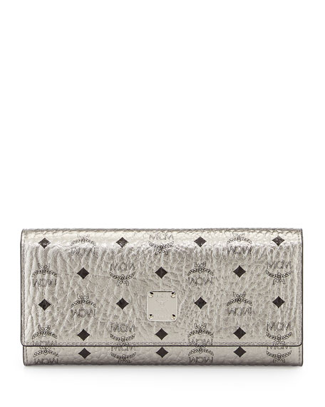 MCM Color Visetos Large Tri-Fold Wallet, Silver
