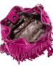 Mini Fiona Fringe Bucket Bag, Magenta