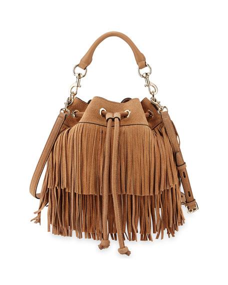 Fiona Suede Fringe Bucket Bag, Cuoio
