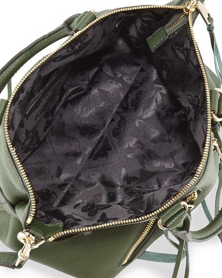 Moto Leather Satchel Bag, Dark Forest