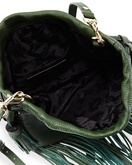 Rebecca Minkoff Moto Fringe Drawstring Saddle Bag, Dark Forest