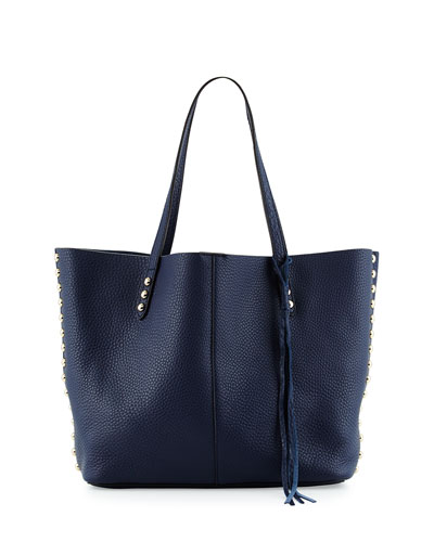 Pebbled Leather Stud-Trim Tote Bag, Moon
