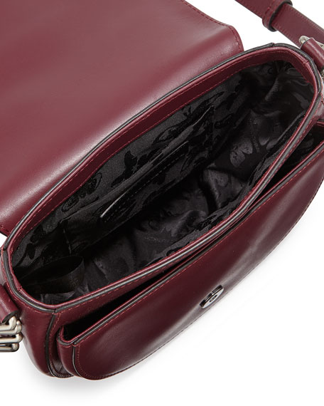 Image 3 of 3: Astor Laser-Cut Leather Saddle Bag, Port