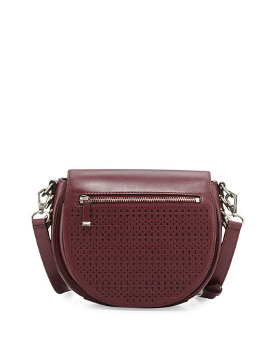 Astor Laser-Cut Leather Saddle Bag, Port