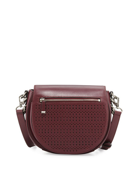 Image 1 of 3: Astor Laser-Cut Leather Saddle Bag, Port