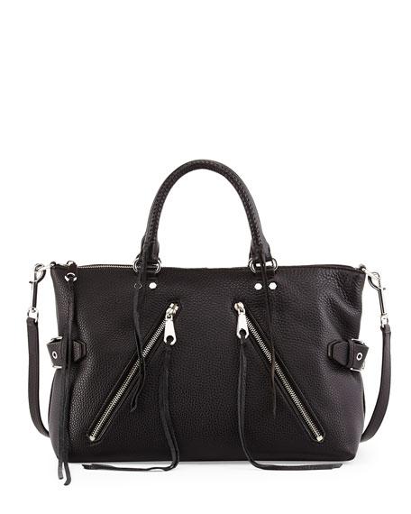 Rebecca Minkoff Large Moto Leather Satchel Bag, Black/Silver
