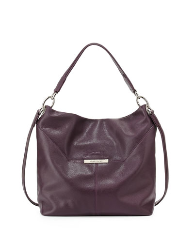 Le Foul Leather Hobo Bag, Black Currant