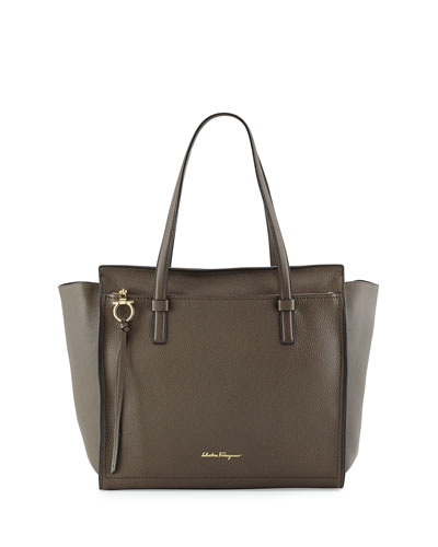 Amy Large Leather Tote Bag, Ash (Cendre)