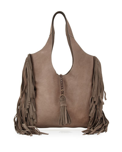 Farrah Leather Fringe Bag, Gray