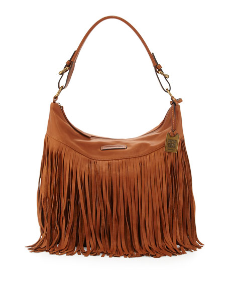 Frye Heidi Leather Fringe Hobo Bag, Whiskey