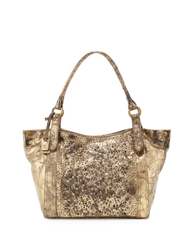 Deborah Glazed-Leather Embellished Shoulder Bag, Gold
