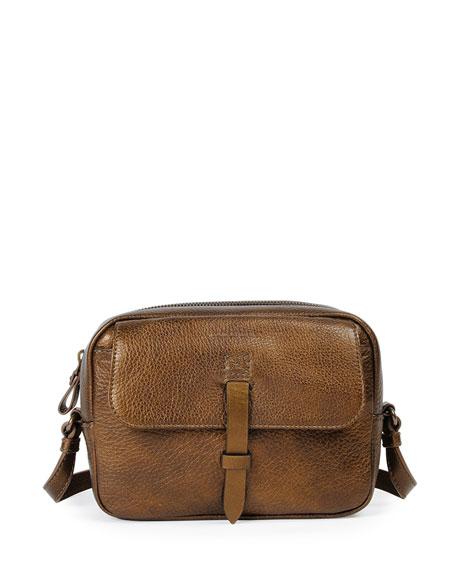 Tomas Maier Granada Metallic Leather Camera Bag, Dark Brass