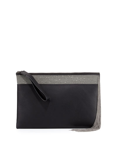 Monili Fringe Leather Wristlet Clutch Bag