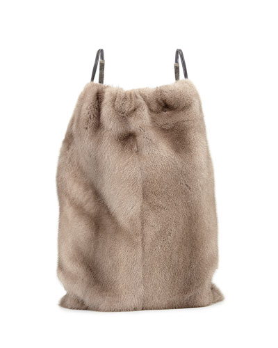 Mink Fur Drawstring Backpack w/Monili Straps, Gray