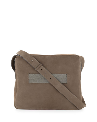 Nubuck Messenger Bag w/Monili Strap, Dark Gray