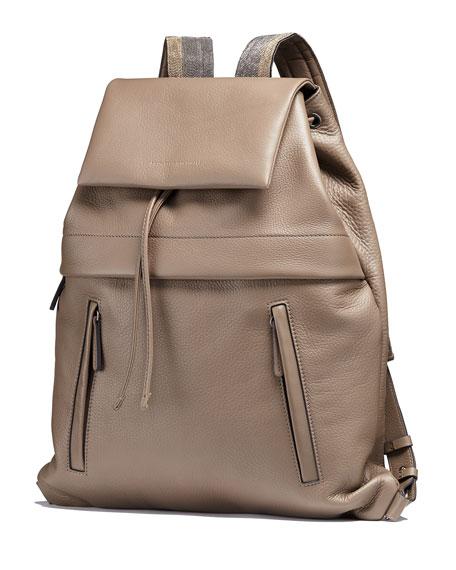 Calfskin Backpack w/Monili Straps, Light Grey