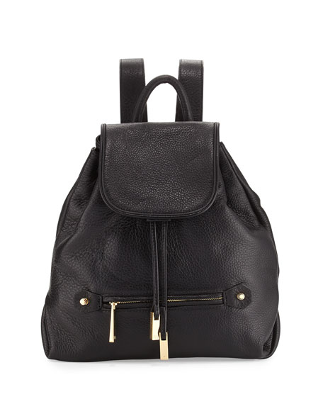 Drawstring Leather Backpack, Black