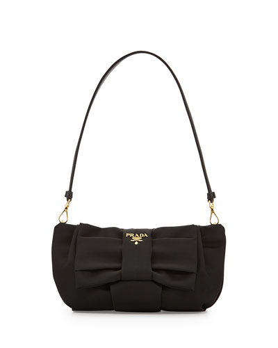 Nylon Bow Pochette, Black (Nero)