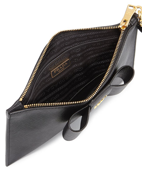 wallet on a chain prada - Prada Saffiano Bow Pochette, Black (Nero)