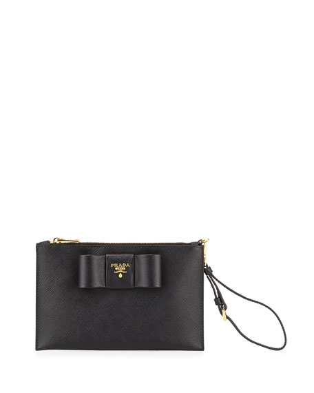 prada saffiano clutch black
