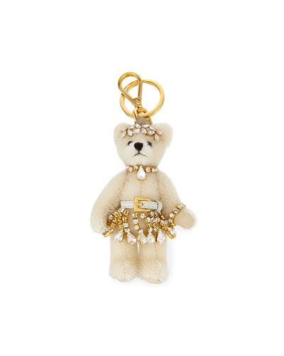 Renne Plush Teddy Bear Charm, White/Pink (Bianco)