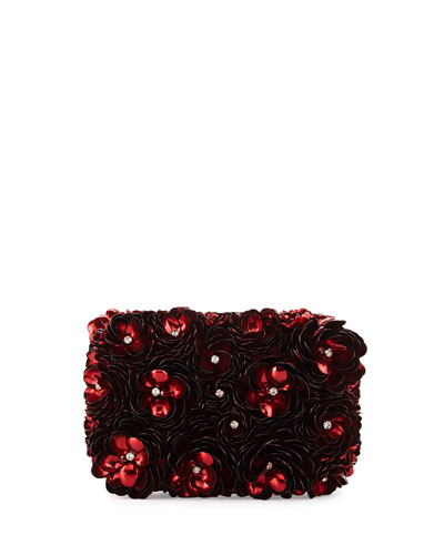 Rose Hard-Shell Clutch Bag, Red
