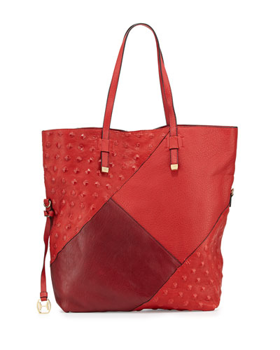 Colorblock Leather Tote Bag, Chili