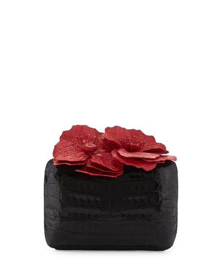 Poppy Floral-Applique Crocodile Clutch Bag, Black/Red