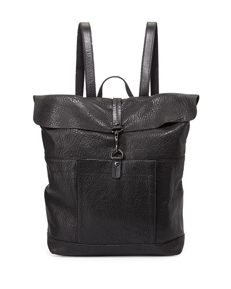 Alexandria Bubble Lamb Leather Backpack, Black