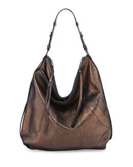 Alina Washed Leather Hobo Bag, Royal Metallic