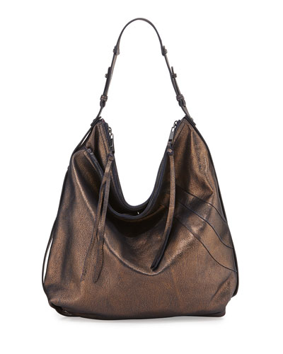 Alina Washed Leather Hobo Bag, Royal Metallic