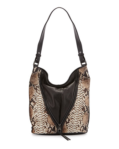 Nico Leather & Snake-Print Calf Hair Bucket Bag, Chocolate