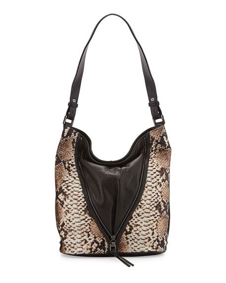 Kooba Nico Leather & Snake-Print Calf Hair Bucket