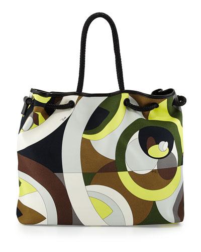 Kaleidoscope-Print Large Canvas Bag, Cocco