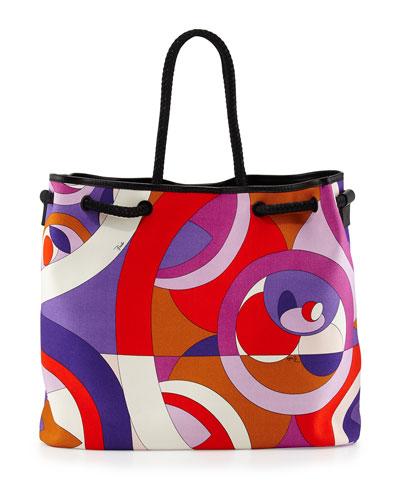 Kaleidoscope-Print Large Canvas Bag, Lilla/Arancio