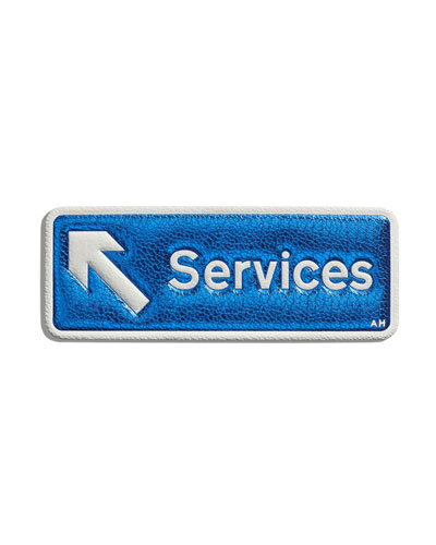 "Leather ""Services"" Sticker for Handbag, Blue"
