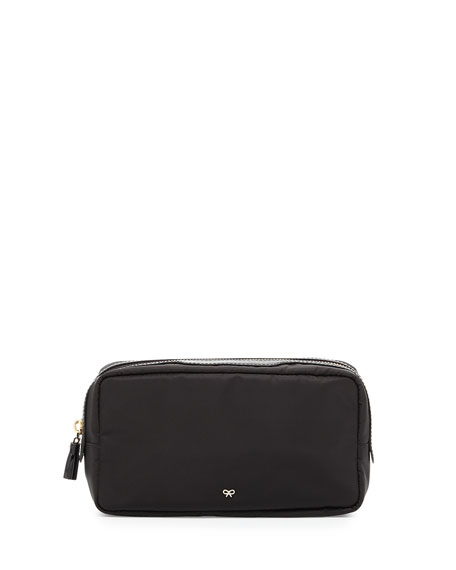 Anya Hindmarch Cables and Chargers Nylon Pouch, Black