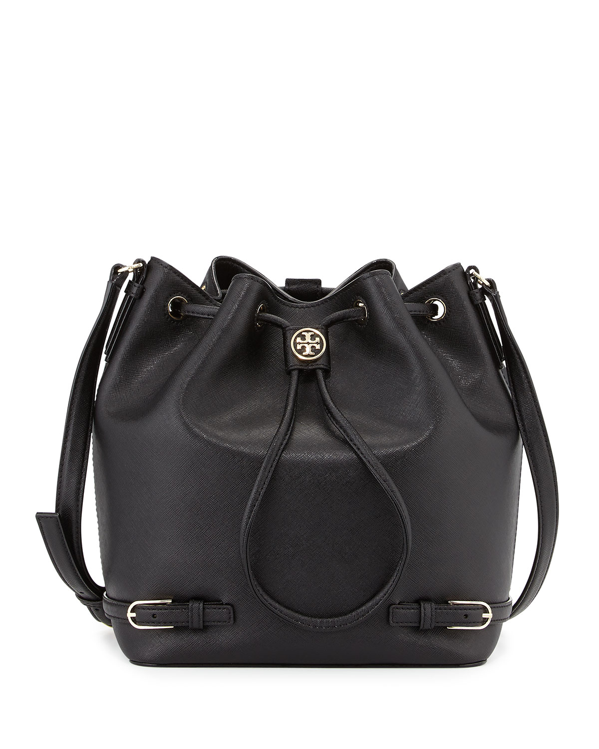 2ef7739be8f Tory Burch Robinson Leather Bucket Bag Black Neiman Marcus. Tory Burch Bag  Block T Bucket 2 Colors 11169642 ...