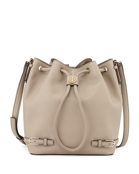 Robinson Leather Bucket Bag, French Gray