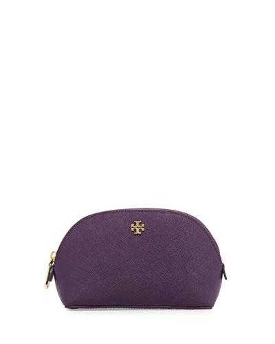 York Small Leather Makeup Bag, Purple Iris