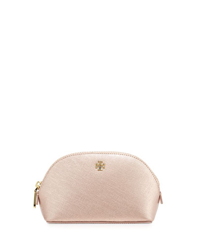 York Small Leather Makeup Bag, Rose Gold
