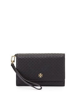 Marion Quilted Leather Wristlet Wallet, Black