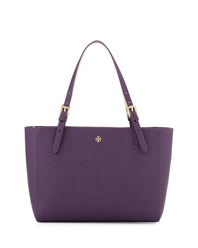 York Small Saffiano Leather Tote Bag, Purple Iris